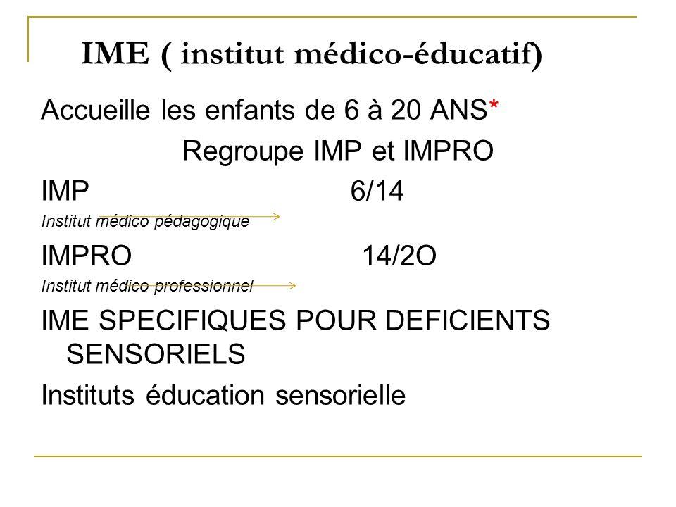 IME ( institut médico-éducatif)