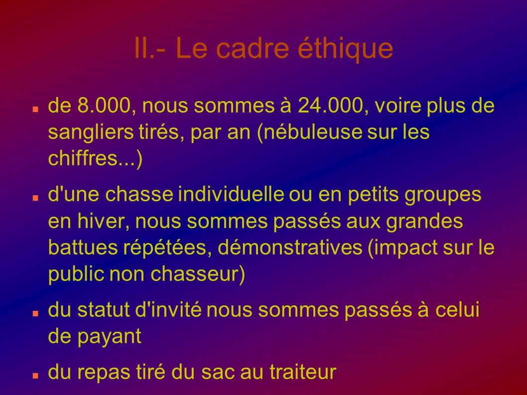 II.- Le cadre éthiquede 8.000, nous sommes à 24.000, voire plus de sangliers tirés, par an (nébuleuse sur les chiffres...)