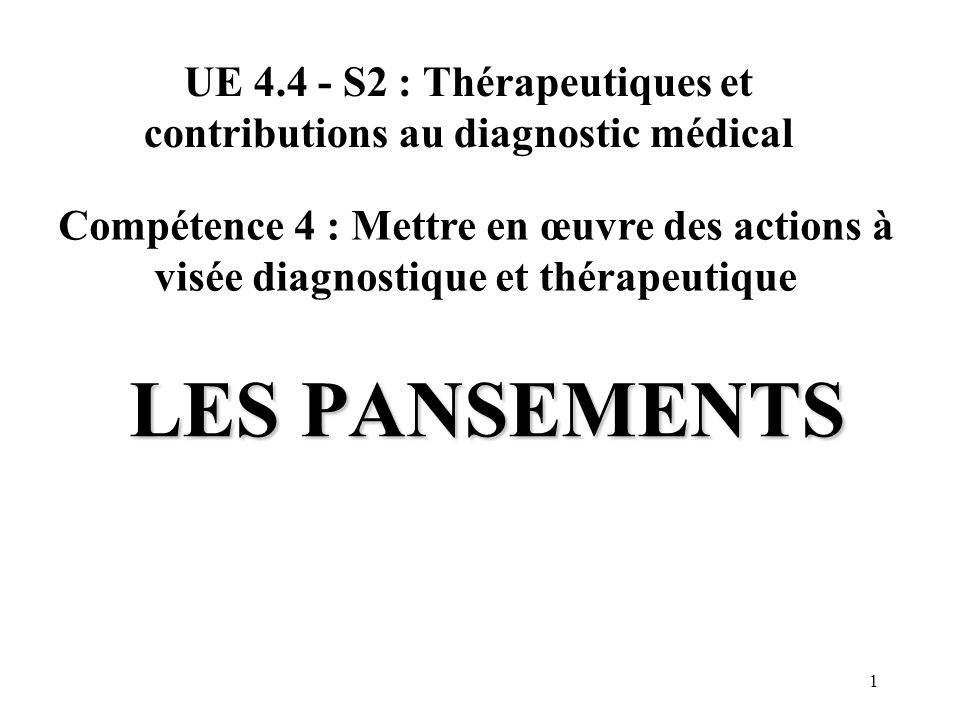 UE 4.4 - S2 : Thérapeutiques et contributions au diagnostic médical