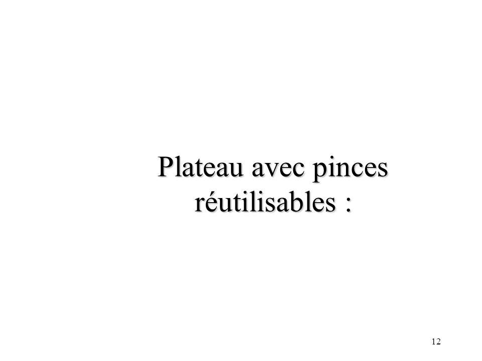 Plateau avec pinces réutilisables :