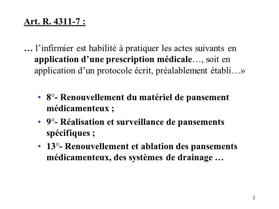 8°- Renouvellement du matériel de pansement médicamenteux ;