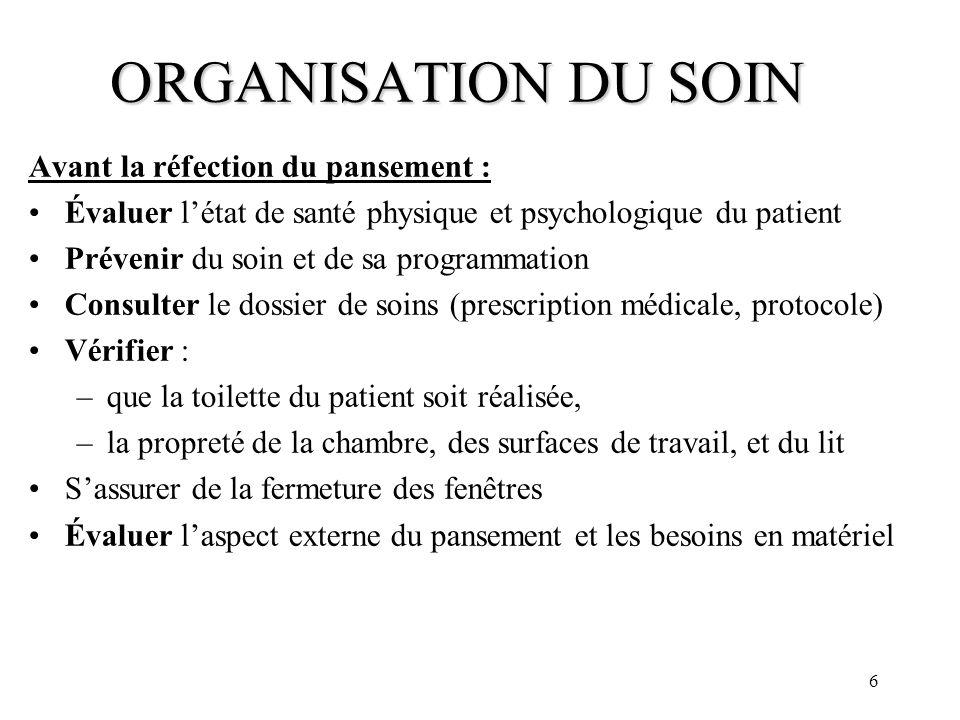 ORGANISATION DU SOIN Avant la réfection du pansement :