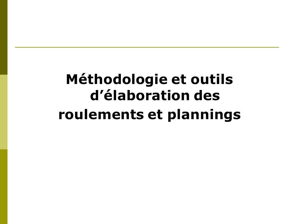 Méthodologie et outils d'élaboration des roulements et plannings