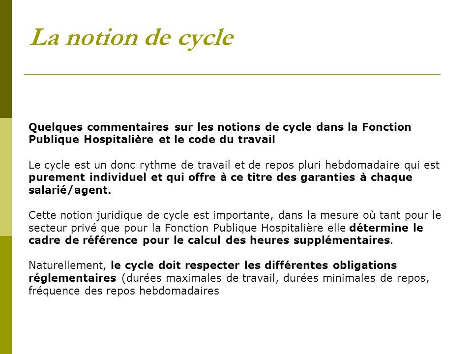 La notion de cycle Quelques commentaires sur les notions de cycle dans la Fonction. Publique Hospitalière et le code du travail.