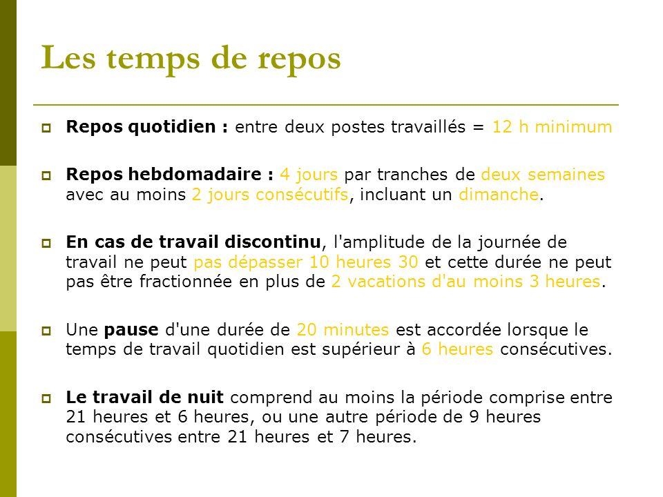 Les temps de reposRepos quotidien : entre deux postes travaillés = 12 h minimum.
