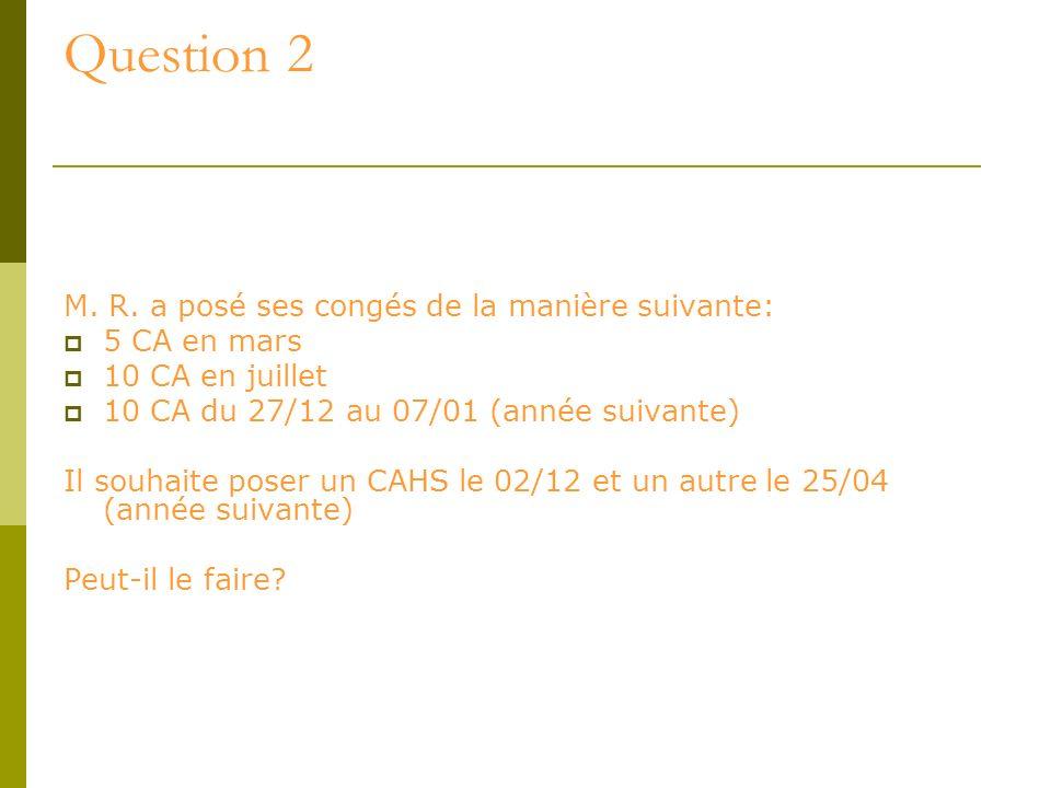 Question 2 M. R. a posé ses congés de la manière suivante: