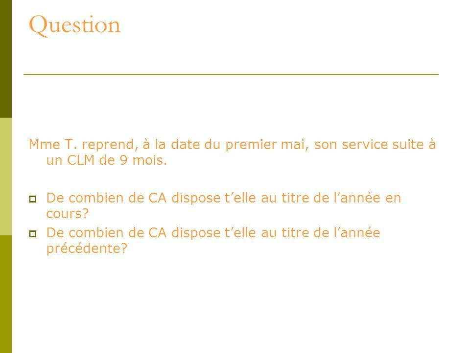 QuestionMme T. reprend, à la date du premier mai, son service suite à un CLM de 9 mois.