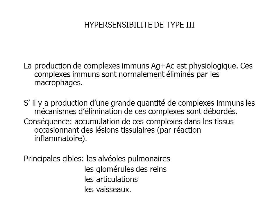 HYPERSENSIBILITE DE TYPE III