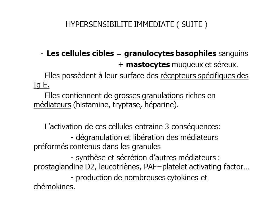 HYPERSENSIBILITE IMMEDIATE ( SUITE )