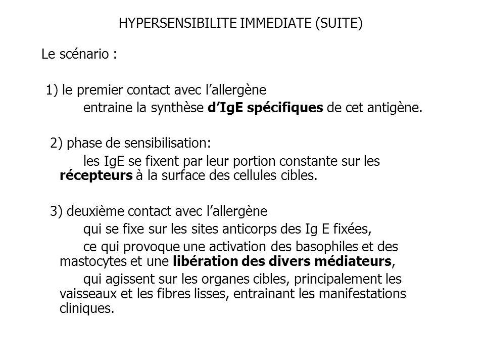 HYPERSENSIBILITE IMMEDIATE (SUITE)