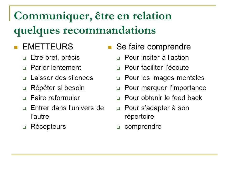 Communiquer, être en relation quelques recommandations