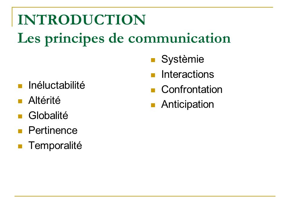 INTRODUCTION Les principes de communication