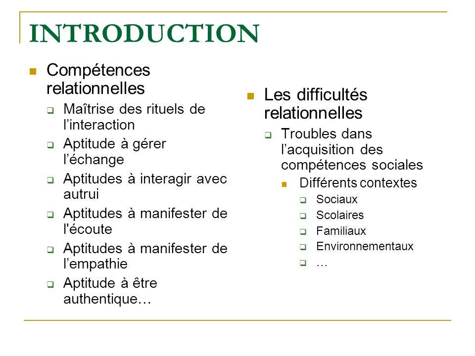 INTRODUCTION Compétences relationnelles Les difficultés relationnelles
