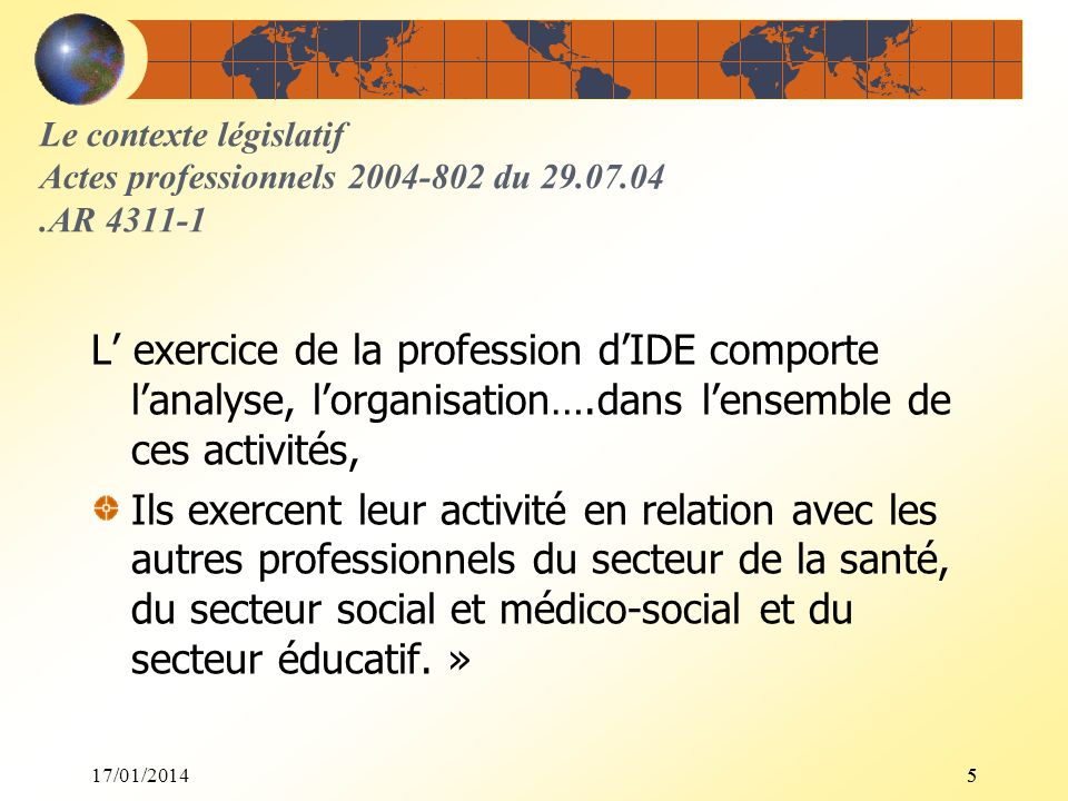UE 2.3 - Semestre 3Le contexte législatif Actes professionnels 2004-802 du 29.07.04 .AR 4311-1.