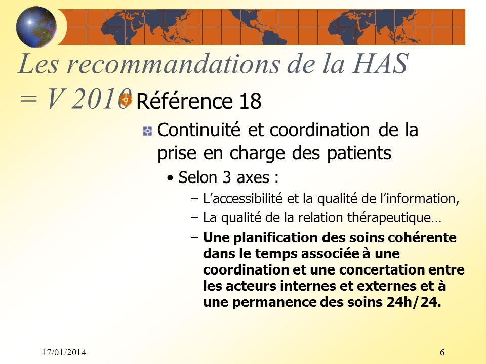 Les recommandations de la HAS = V 2010