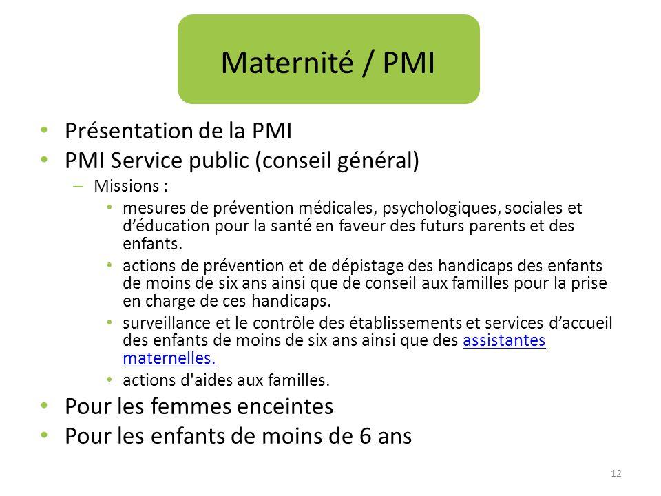 Maternité / PMI Présentation de la PMI