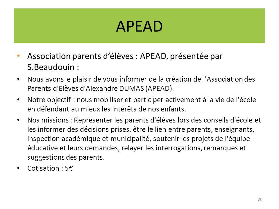 APEAD Association parents d'élèves : APEAD, présentée par S.Beaudouin :