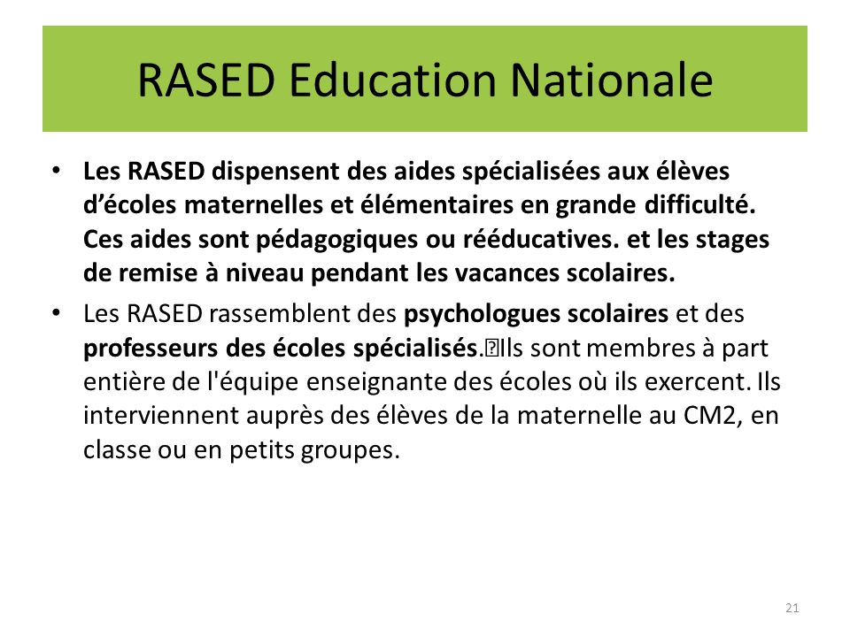 RASED Education Nationale