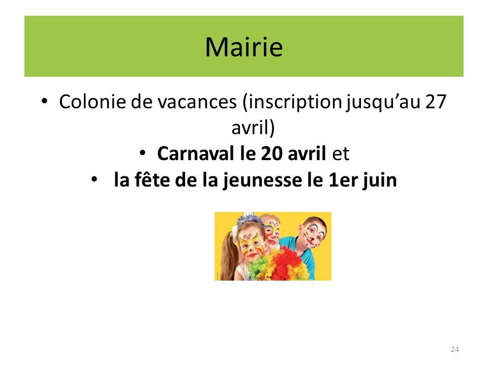 Mairie Colonie de vacances (inscription jusqu'au 27 avril)