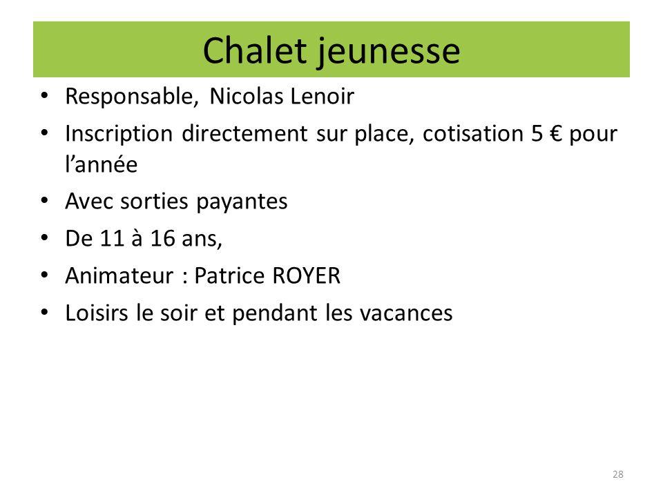 Chalet jeunesse Responsable, Nicolas Lenoir