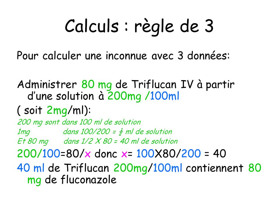 Calculs : règle de 3 Pour calculer une inconnue avec 3 données: