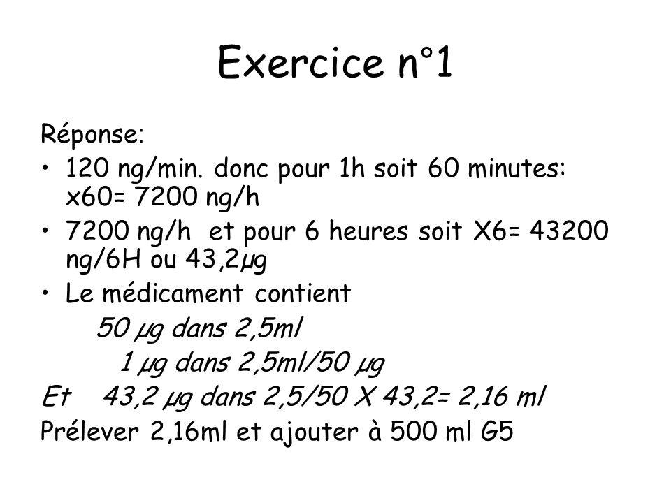 Exercice n°1 Réponse: 120 ng/min. donc pour 1h soit 60 minutes: x60= 7200 ng/h. 7200 ng/h et pour 6 heures soit X6= 43200 ng/6H ou 43,2µg.