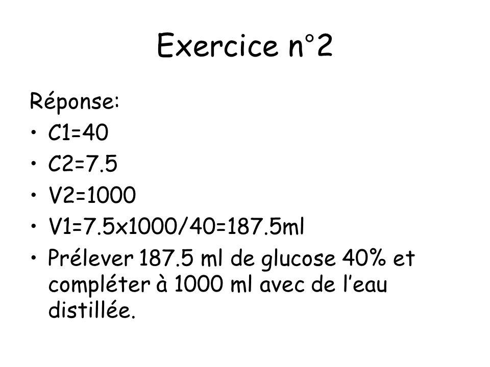 Exercice n°2 Réponse: C1=40 C2=7.5 V2=1000 V1=7.5x1000/40=187.5ml