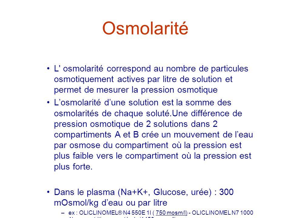 OsmolaritéL osmolarité correspond au nombre de particules osmotiquement actives par litre de solution et permet de mesurer la pression osmotique.