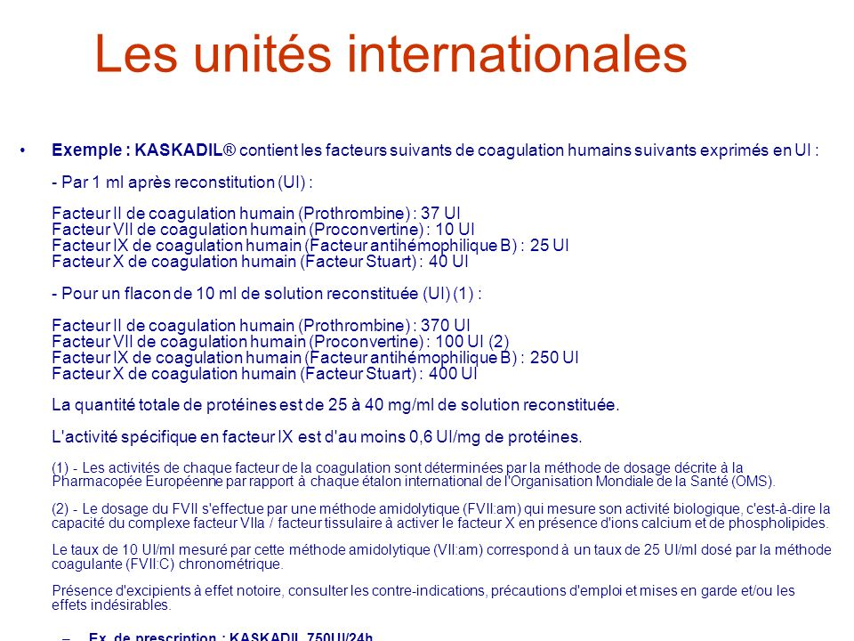 Les unités internationales