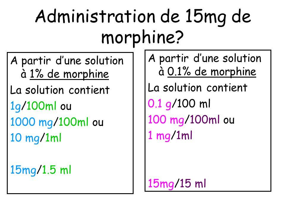 Administration de 15mg de morphine