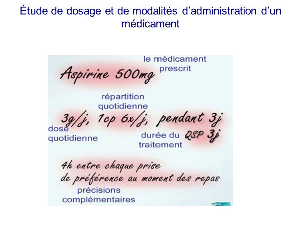 Étude de dosage et de modalités d'administration d'un médicament