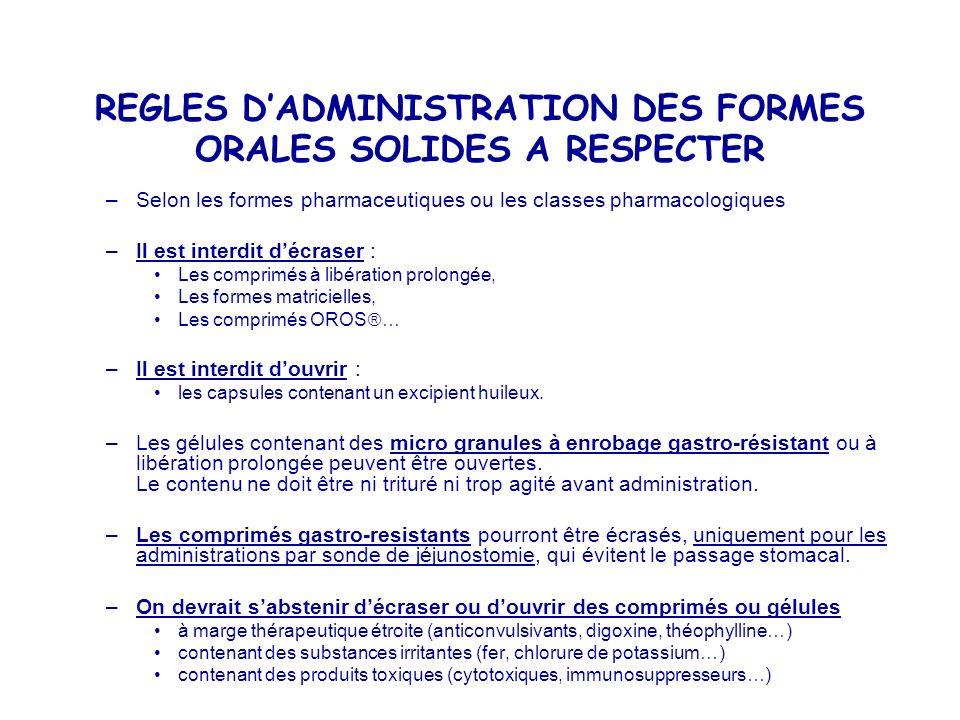 REGLES D'ADMINISTRATION DES FORMES ORALES SOLIDES A RESPECTER