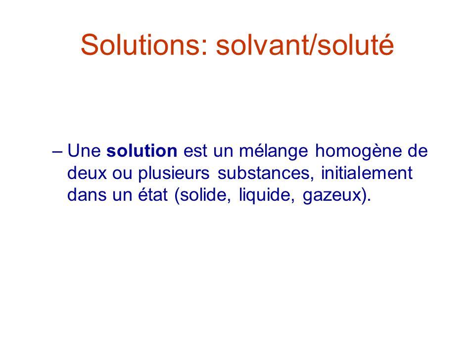 Solutions: solvant/soluté