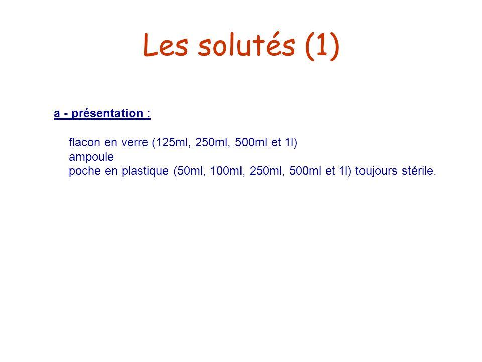 Les solutés (1) a - présentation :