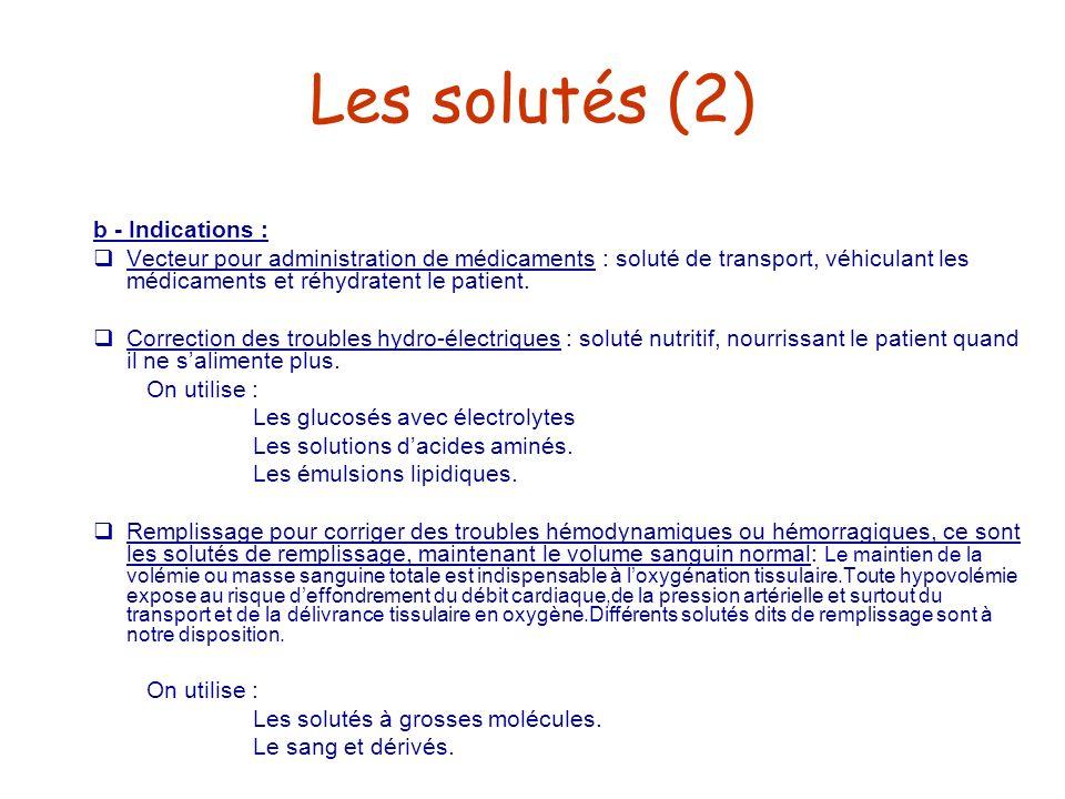 Les solutés (2) b - Indications :