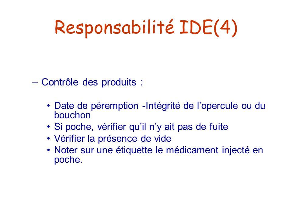 Responsabilité IDE(4) Contrôle des produits :