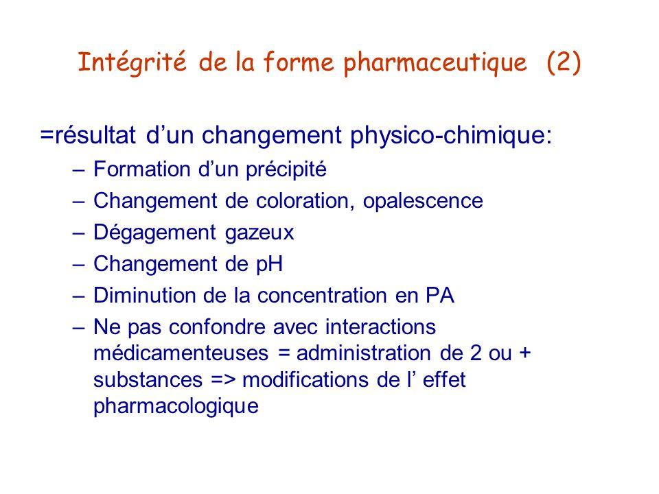 Intégrité de la forme pharmaceutique (2)