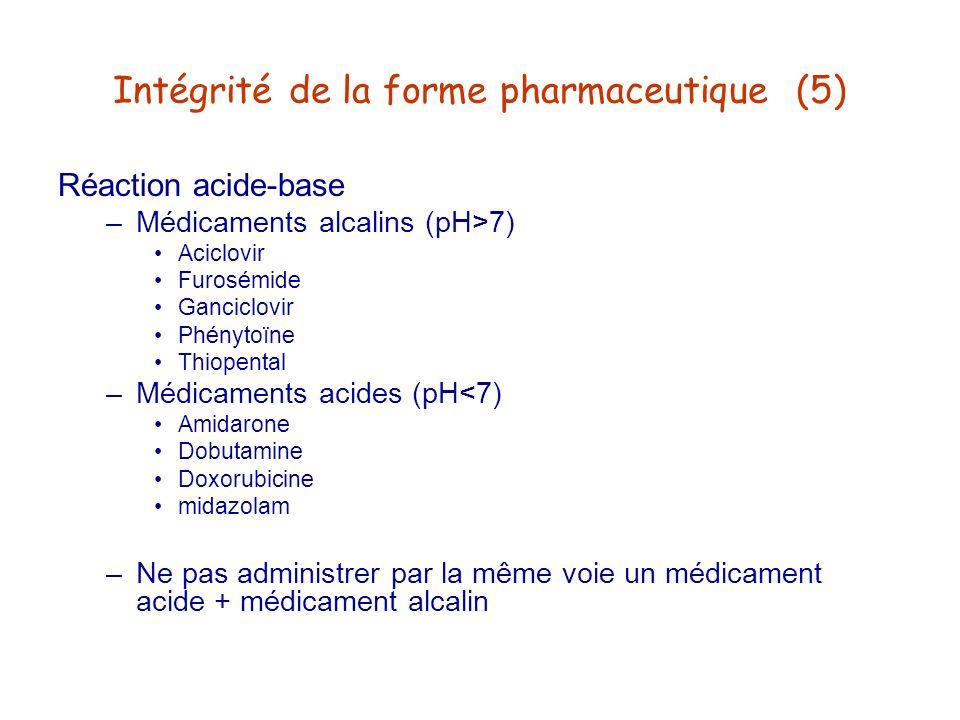 Intégrité de la forme pharmaceutique (5)