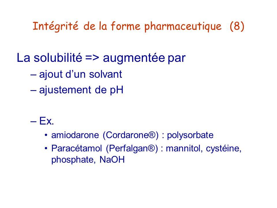 Intégrité de la forme pharmaceutique (8)