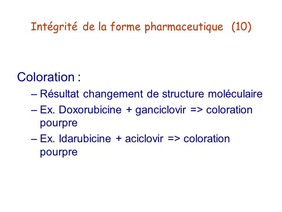 Intégrité de la forme pharmaceutique (10)