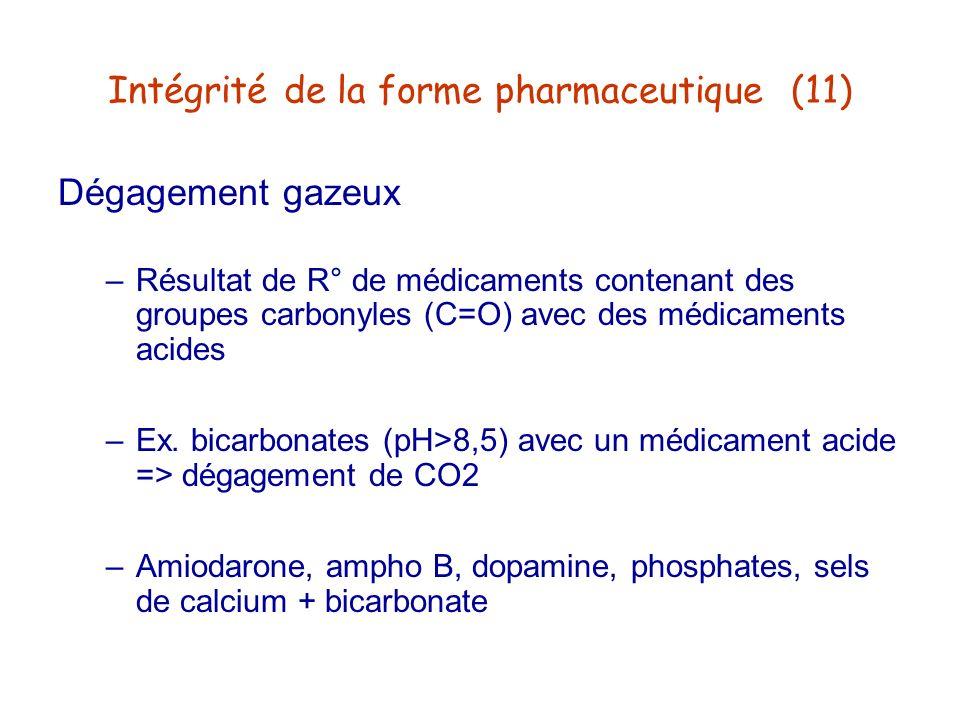 Intégrité de la forme pharmaceutique (11)