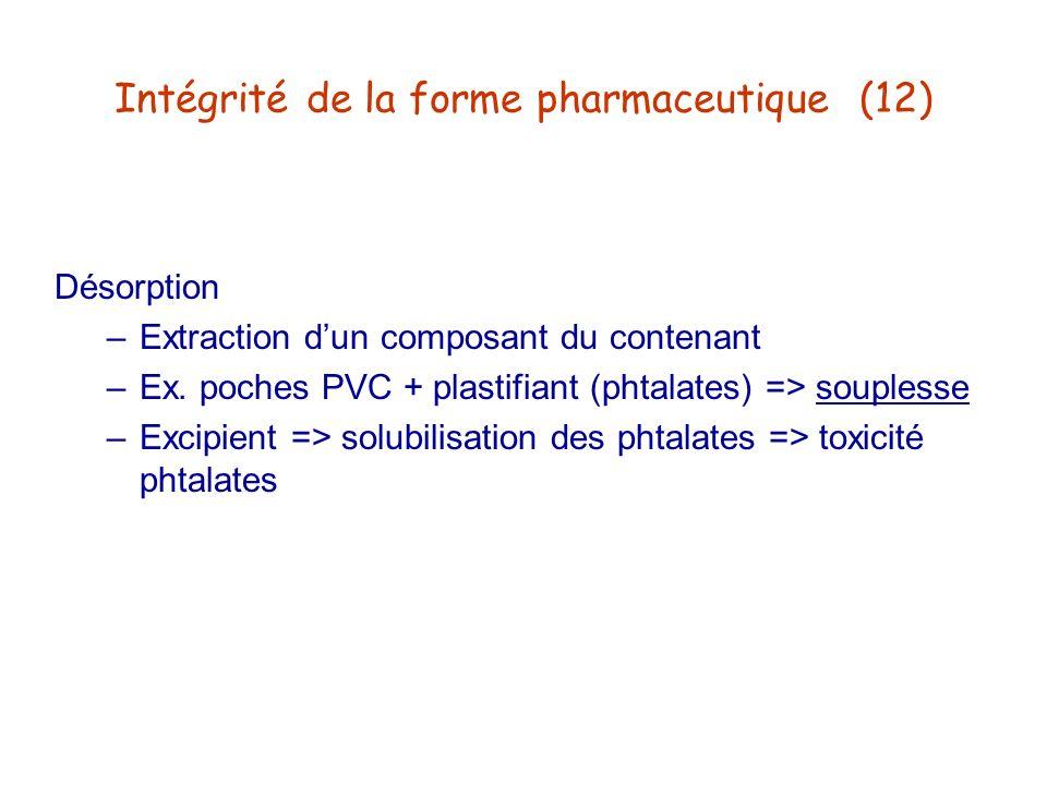 Intégrité de la forme pharmaceutique (12)