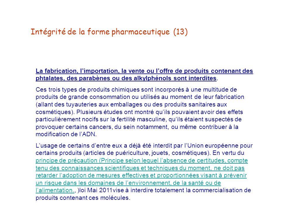Intégrité de la forme pharmaceutique (13)