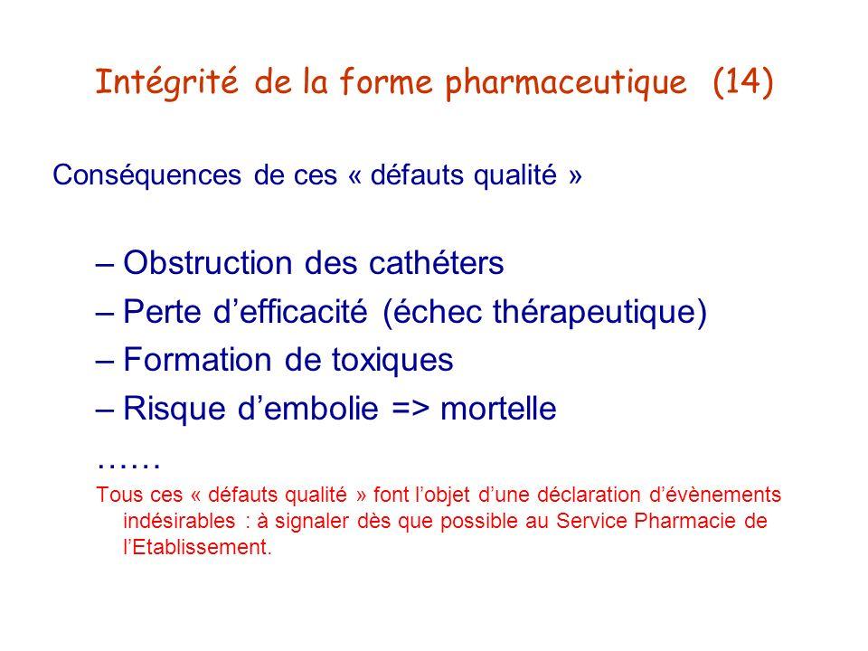 Intégrité de la forme pharmaceutique (14)