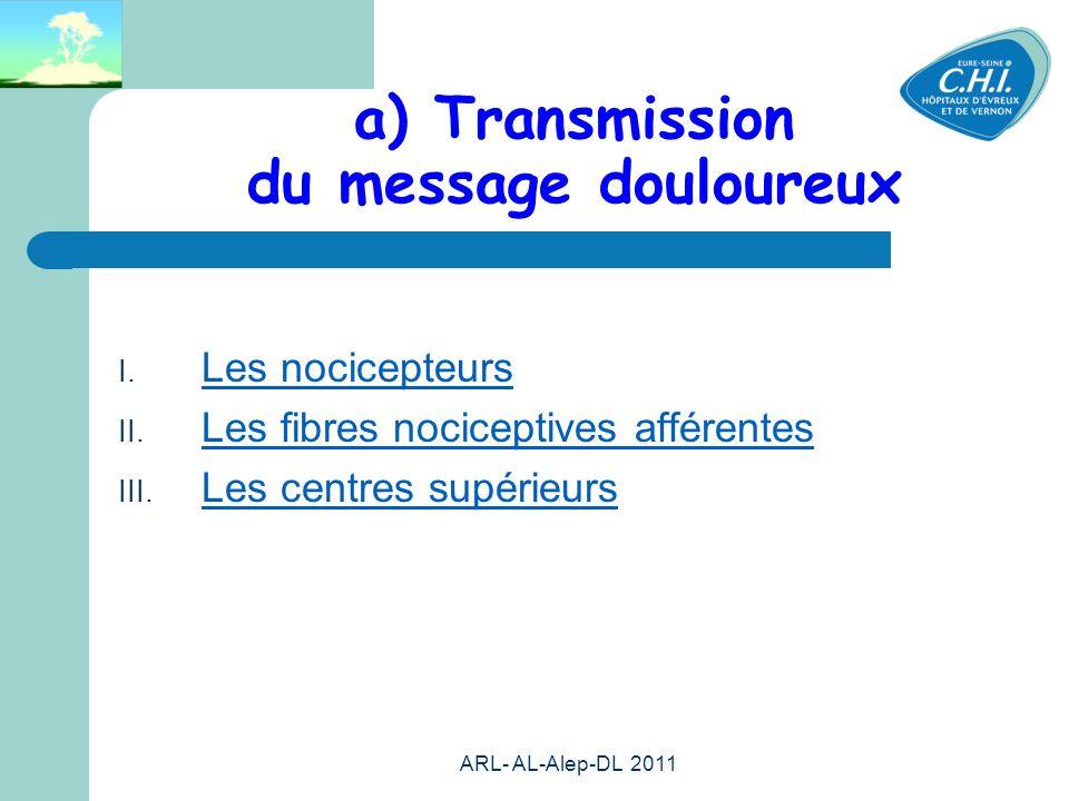 a) Transmission du message douloureux