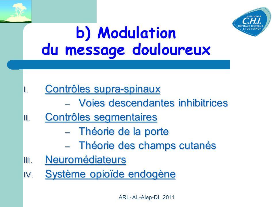 b) Modulation du message douloureux