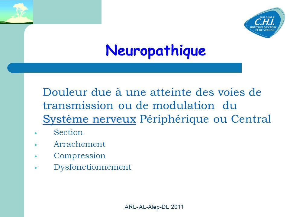 Neuropathique Douleur due à une atteinte des voies de transmission ou de modulation du Système nerveux Périphérique ou Central.