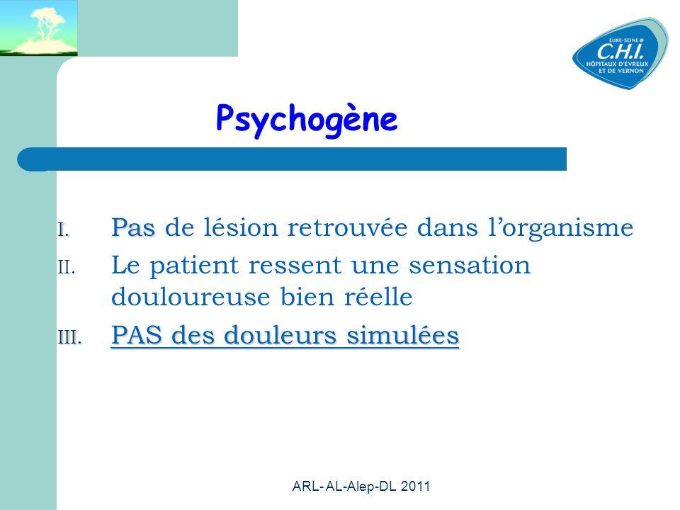 Psychogène Pas de lésion retrouvée dans l'organisme