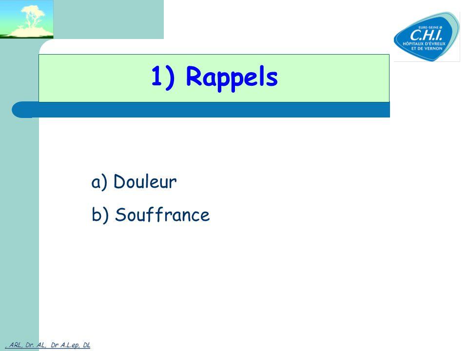 1) Rappels a) Douleur b) Souffrance