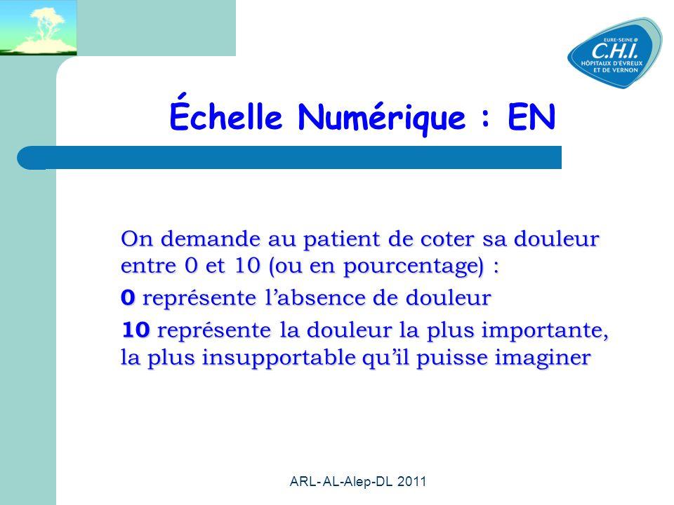 Échelle Numérique : EN On demande au patient de coter sa douleur entre 0 et 10 (ou en pourcentage) :